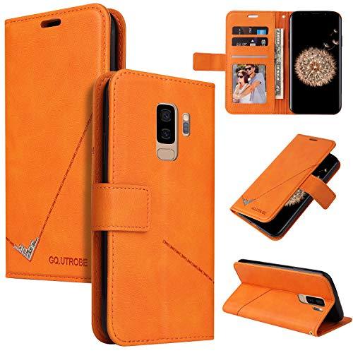 LODROC Galaxy S9+ (S9 Plus) Hülle, TPU Lederhülle Magnetische Schutzhülle [Kartenfach] [Standfunktion], Stoßfeste Tasche Kompatibel für Samsung Galaxy S9+ /G965F - LOYKB0600280 Orange