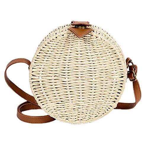 Demarkt Fashion Dames strandtas riet rond schoudertas strotassen crossbody tas voor reizen en vakantie, beige (beige) - 1156GP27PDX