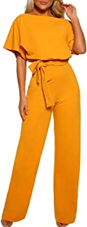 Boomboom Women Short Sleeve Plus Size Playsuit Straight Leg Jumpsuit with Belt
