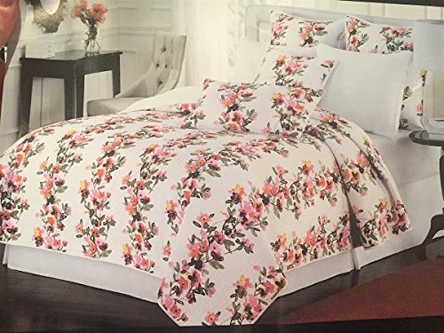 Cynthia Rowley New York Full/Queen Floral Quilt - Pink Red Burgundy Orange and Green Rows of Flowers