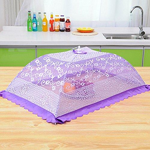 Isolation Grand anti-mouches Couvercle de table de salle à manger Couvercle pliant carré Couvercle de table à parapluie Couvercle alimentaire (5 couleurs en option) (81 * 55cm) Antiparasitaire