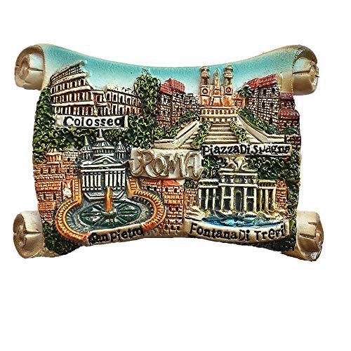 Magnete per frigorifero 3D con 4 attrazioni di Roma Italia, regalo per souvenir e cucina, decorazione per casa e cucina, magnete per frigorifero