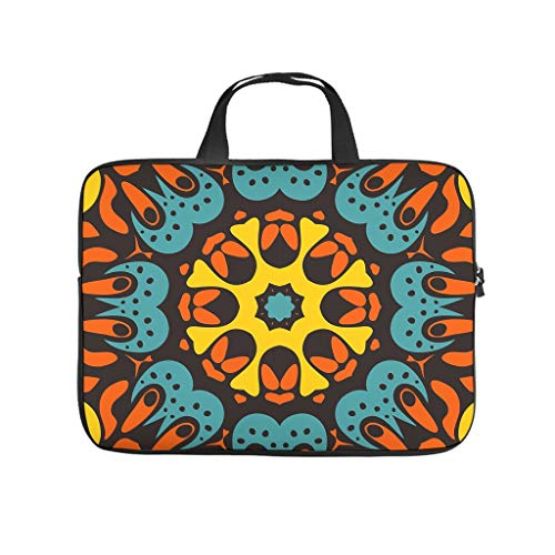 Fashion Tablet Bag National Mandala Flower Colorful Pattern 3D Tablet Sleeves Water Repellent Polyester Notebook Case for Dad Mom White 13inch