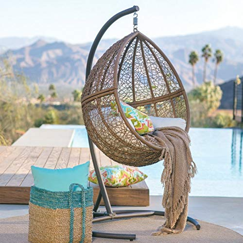 Natural Brown Resin Wicker Hanging Egg Chair w/Stand Outdoor Patio Lounge Furniture Includes Beige...