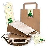 5 sacchetti di carta marrone per regali di Natale, fondo 18 x 8 x 22 cm, piccoli sacchetti di carta autoadesivi, albero di Natale rosso giallo
