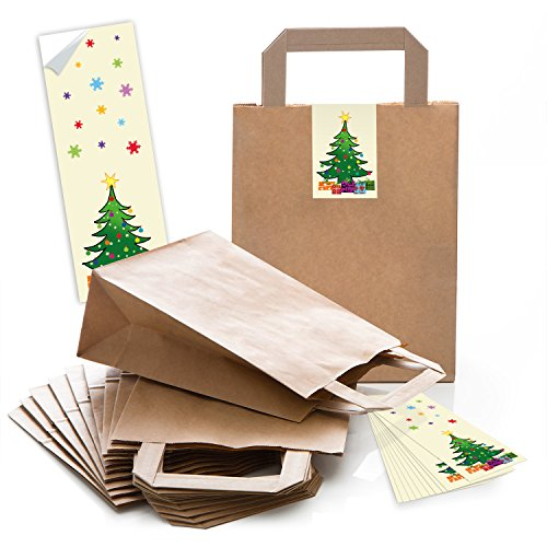 5 braune Papiertüten Geschenk-tüten Weihnachtstüten Boden 18 x 8 x 22 cm kleine Papiertaschen Weihnachts-Aufkleber Christbaum rot gelb Kraftpapier-Tüten Weihnachten Verpackung Geschenke