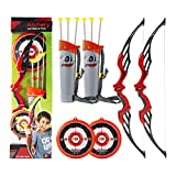 Fstop Labs 2 Pack Set Bow & Arrow Toy for Kids, Kids Archery Shooting Set with Target, Quiver and Suction Cup Arrows Kids Toys Age 5, 6, 7, 8, 9 Years Old Boys and Girls