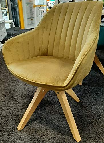 Gutmann Limited Sessel Chill Stoff Massivholz Natur Wohnzimmer Esszimmer (312/19 - Senf)