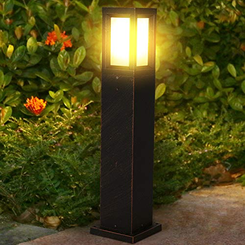 Lampione da esterno E27 in alluminio Lampioncini prato LED Palo illuminazione IP65 impermeabile Luce paletto moderno 60cm Lanterne da giardino (Lampadina inclusa)
