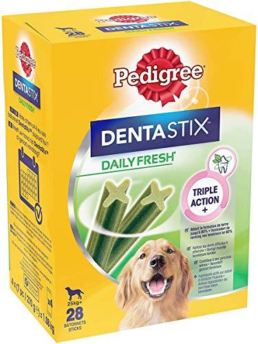 Pedigree Dentastix Fresh - Friandises pour grand chien, 112 bâtonnets à mâcher pour l'hygiène bucco-dentaire ( 4 x 28 bâtonnets)