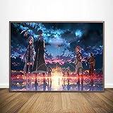 Lienzo Pintura Sword Art Online Kirito Asuna Poster Japón Videojuego Impresiones de Anime Cuadros artísticos de Pared para la decoración de la Sala de Estar 50x70 cm N-912