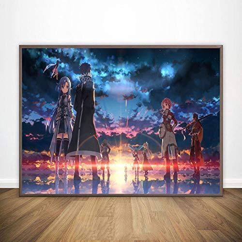 LGYJAL Dipinto su Tela Sword Art Online Kirito Asuna Poster Giappone Videogioco Anime Stampe Immagini a Parete per Soggiorno Decor 50x70 cm (19.68x27.55 in) N-912