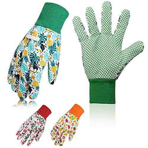 COCHIE 3er Set Gartenhandschuhe für Damen,Antirutschbeschichtung Arbeitshandschuhe Einheitsgröße mit PVC-Punkten Zum pflanz-und Arbeitshandschuhe Gartenarbeit (Grün 1)