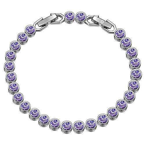 Susan Y regalo di natale tennis braccialetti donna cristalli originali idee regalo natale bracciale idee regalo donna regali natale donna idee regalo(Viola)