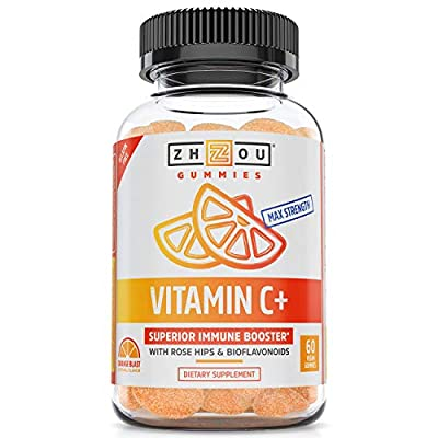 Vitamin C+ Gummies, Max Strength Vitamin C Immune Booster with Rosehips & Bioflavonoids to Help Boost Immunity and Cellular Health