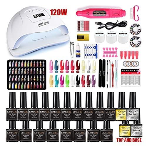 Set de uñas Secador de lámpara LED UV de 120W con 18/12...