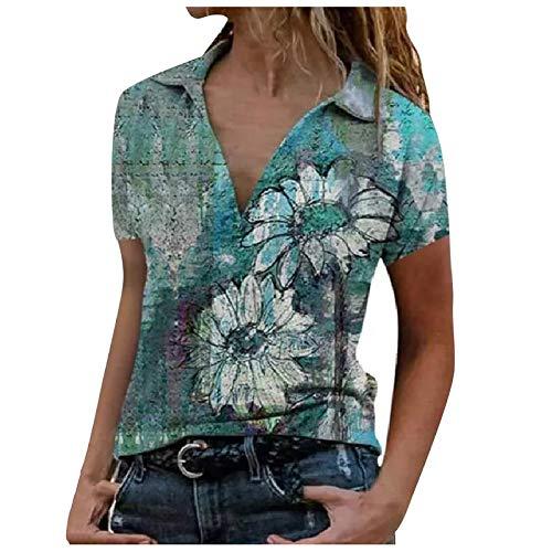 Women's Zipper Lapel Color Blocking Short-Sleeve Shirt Casual Slim fit Basic V-Neck Tee Shirts Tee Tops Tunic Blouse