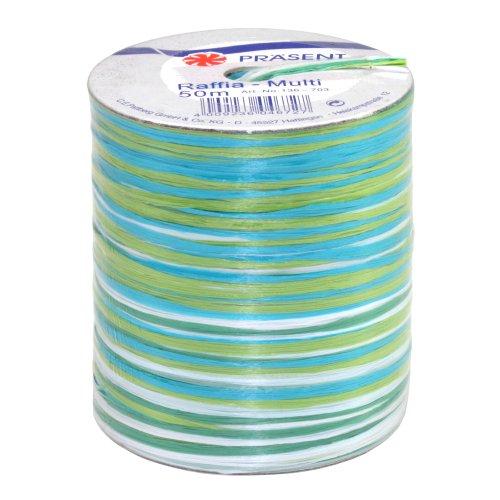 Präsent Bastband, blau-weiss-grün, 50-m-Spule