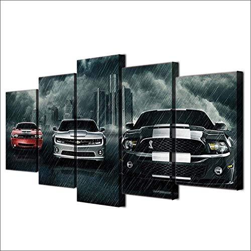 ARXYD Muscle Cars Drucke auf Leinwand 5 Stück Leinwand Wandkunst Moderne Wanddekoration Home Wohnzimmer Dekoration Kreatives Geschenk Poster