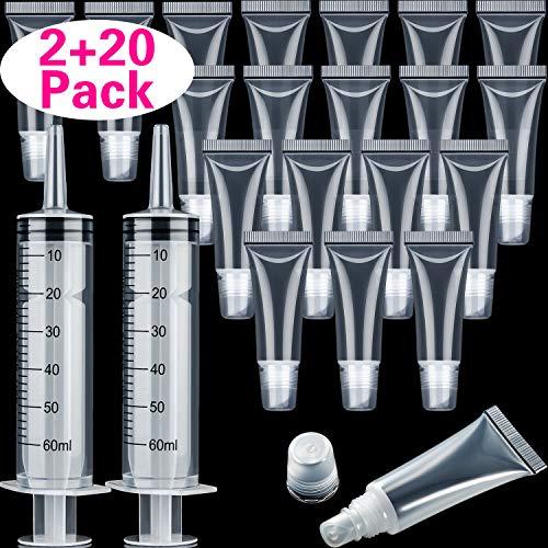 20 Packungen Lipgloss Tube 10ml Klar Nachfüllung Leere Tuben und 2 Packungen 60ml Plastik Spritze...