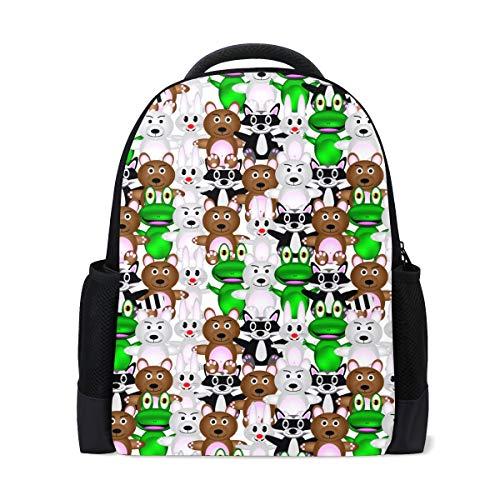 Mochila escolar, oso conejo rana colegio, hombros de la escuela, libros, mochila para niños y niñas