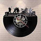 BFMBCHDJ Rock Band on Stage Arte de Pared en Blanco y Negro Vintage Vinyl Record LP Arte de Pared Silent Wall Clock Music Band Live Music Studio Decor