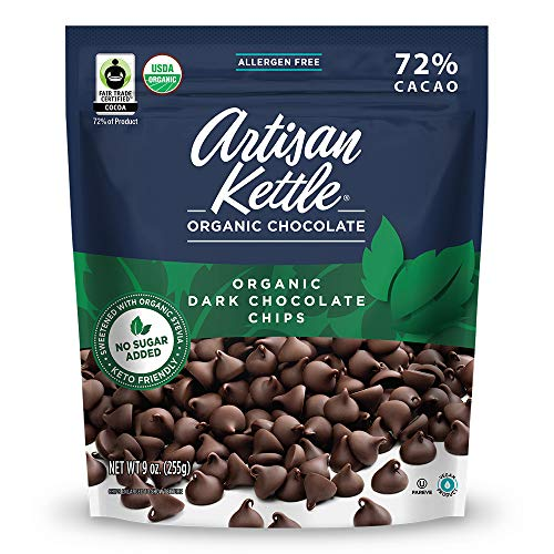 Artisan Kettle Organic No Sugar Added Dark Chocolate Chips, 9 Oz (Pack Of 6)
