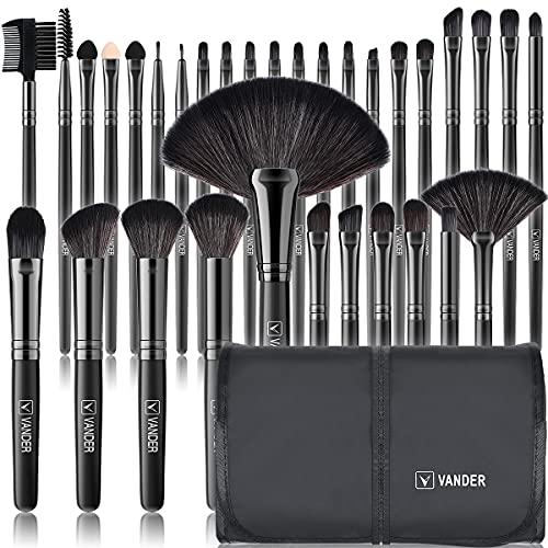 brochas de maquillaje,Vander- Juego de 32 brochas de maquillaje profesionales, base sintética, polvos, correctores, brochas de belleza con bolsa de viaje para cosméticos, negro