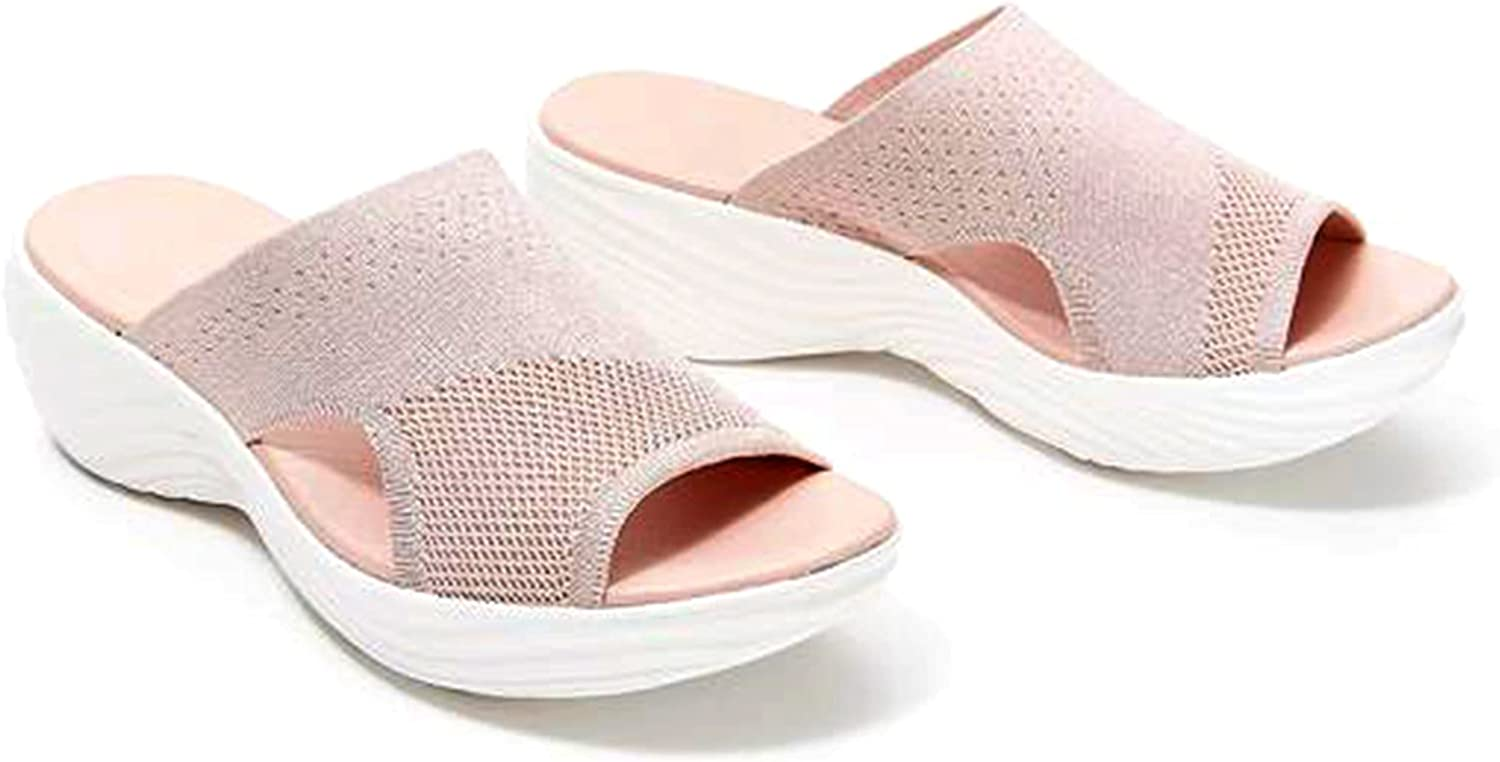 Women's Knitted Wedge Sports Corrective Sandals, Mesh Upper slide wedge sandals, knitted corrective sandals for women,Summer Beach Breathable Casual Shoes,for Home Indoor Outdoor