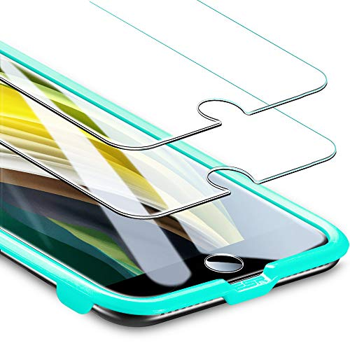 ESR iPhone SE ガラスフィルム 第2世代 iPhone SE/8/7用強化ガラスフィルム [簡単貼り付けガイド枠] [ケースと相性バッチリ] iPhone SE/8/7用 強化ガラス液晶保護フィルム [2枚セット]
