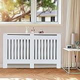 KingSaid Cache-radiateur - Étagère en Bois - Moderne à Lattes en Panneaux MDF - Meuble de Rangement pour Salon - 152 * 82 * 19cm