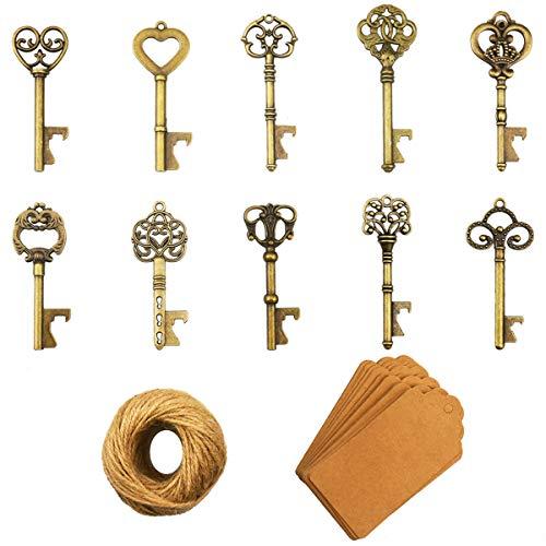 Schlüssel Flaschenöffner - 50 Stück Schlüssel Flaschenöffner mit Kraftpapier Geschenkanhänger und Schnur für Hochzeit Gefälligkeiten antike rustikale Party Dekoration, Bronze-
