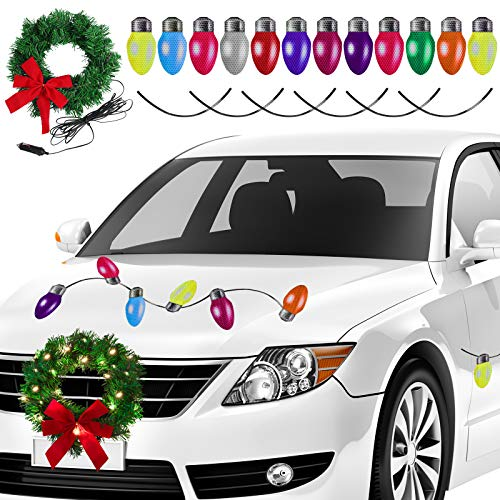 Aneco Christmas LED Car Wreath Christmas Christmas Car Refrigerator Reflective Bulb Light Decorations Christmas Automotive Wreath for Car Christmas