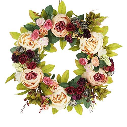 mnzncrfee 2pcs Pfingstrosen Blumenkranz für Haustür, künstlich, handgefertigt, Blumenkranz, Frühlingssommer-Girlande für Tür, Wand, Hochzeit, Party, Heimdekoration