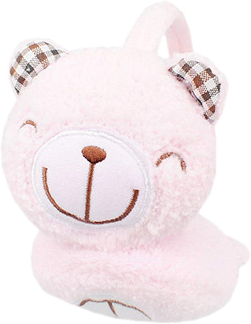 Cute Animal Earmuffs Winter Outdoor Warm Ear Muffs for Kids, Pink Bear