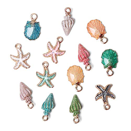 13Pcs Enamel Conch Sea Shell Ocean Starfish Charms Pendant Beads for DIY Handmade Jewelry Making Necklace Bracelet Earrings Decorations Gifts