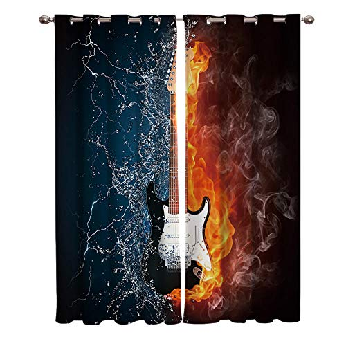 JNBGYAPS Blackout Curtains 3D Ice Fire Guitar printing Thermal Insulated Curtains Eyelet Super Soft Window Treatment for Bedroom Window Decoration parlor bathroom 2 x 29.5 x 65.3 Inch