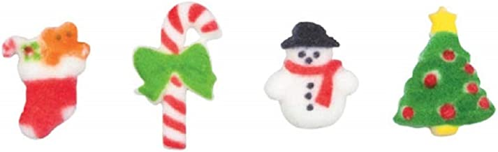 Oasis Supply Merry Miniatures Candy Cane, Holiday Tree, Snowman, Stocking Assortment Edible Sugar Decorations - 12 Count - 24905