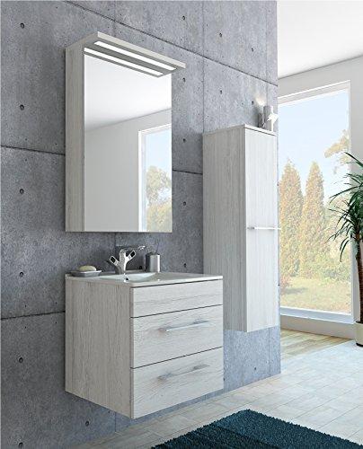 gariella de muebles de baño Set en madera de color blanco/con espejo, lavabo y–Armario alto
