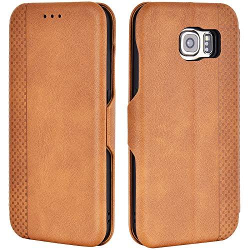 Airkuco Schutzhülle für Samsung Galaxy S6 Leder Hülle Flip Hülle Handyhülle - Braun