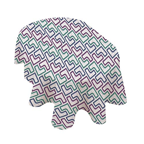 Angel Bags Geometric Oval Tablecloth,Trippy Tiles Maze Branching Path Puzzle Style Digital Motif Polyester Table Cover,52x70 Inch,for Holiday Home Christmas Party Picnic White Purple Teal Dark Blue