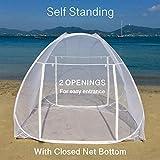 EVEN NATURALS Popup MOSKITONETZ Zelt, großes Mückennetz für Doppelbett, feinste Löcher, Camping Netz, Faltdesign mit Unterseite, 2 Einträge, einfache Installation, Tragetasche, Keine Chemikalien - 2