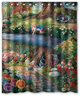 GoHeBe Alice in Wonderland Walt Disney Background Pattern Shower Curtain 3D Printing Waterproof Coated Polyester Fabric Bathroom with 12 Hooks 71 inches 180180 cm