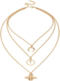 Multilayer Moon Crescent Horn Choker Necklace Simple Stic Pendant Necklace Link Geometric Circle Round Delicate Bee Clavicle Necklace for Women Girls