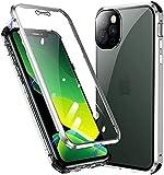 Carcasa para iPhone 13 Mini, carcasa de absorción magnética, marco metálico, ultrafina, cristal templado con tapa de imán integrada, para Apple iPhone 13 Mini, color gris