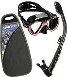 Cressi Ranger & Dry, Set Maschera per Snorkeling Unisex Adulto, Nero/Rosa, Taglia Unica