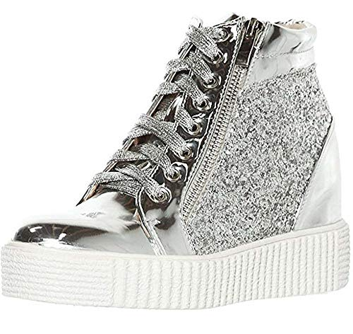 shoewhatever Women's Metallic Glitter High Top Lace Up Wedge Heels Fashion Sneakers