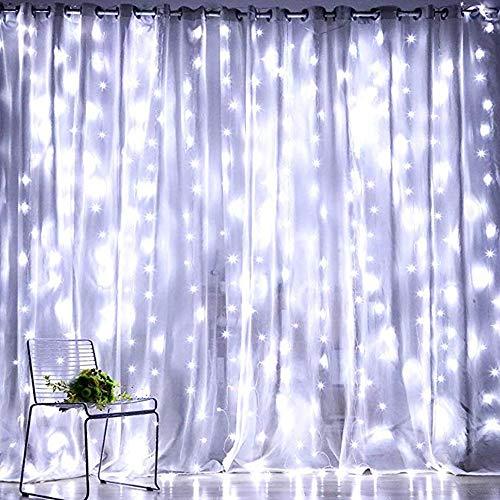 SMAA LED-Fenster-Vorhang Lichter USB-Stecker, wasserdichtes Fernbedienung Kupfer Lichterketten, für Haupthochzeits-Garten Schlafzimmer Wanddekoration (9.8 x 9.8 ft, 300LEDs, 8 Modi),Weiß