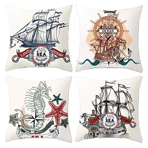 HOSTECCO Nautical Cushion Covers Set of 4 Sea Vacation Sailboat Pillow Covers 45x45 cm Love Ocean Decorative Pillow Cases
