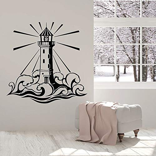Calcomanías de pared de faro casa de playa castillo océano ola náutica arte dormitorio sala de estar estudio decoración de interiores pegatina de vinilo